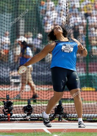 Aretha Thurmond Aretha Thurmond prepares to throw in the women's discus final at the U.S. Olympic Track and Field Trials in Eugene, Ore., . Thurmond placed first with a throw of 65.20 meters