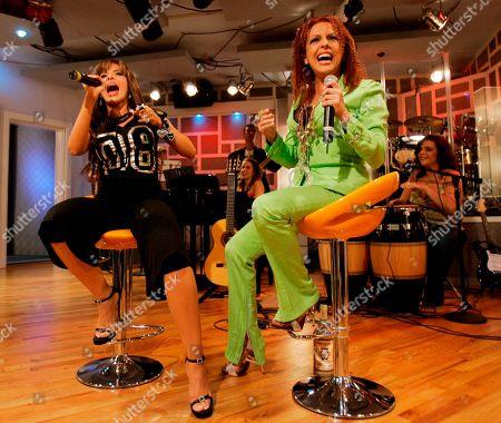 Gloria Trevi, Albita Mexican singer Gloria Trevi, left, performs with Albita during the recording of 'La Descarga Con Albita' television show in Miami