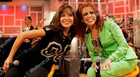 Gloria Trevi, Albita Mexican singer Gloria Trevi, left, and Albita pose during the recording of 'La Descarga Con Albita' television show in Miami