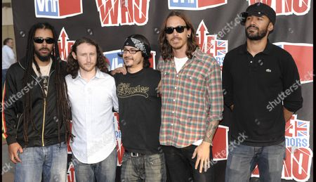 """Chris Kilmore, Mike Einziger, Jose Pasillas, Ben Kenney, Brandon Boyd From left: Musicians Chris Kilmore, Mike Einziger, Jose Pasillas, Ben Kenney, and Brandon Boyd of 'Incubus' at the VH1 Rock Honors """"The Who"""" on in Los Angeles"""