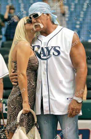 Hulk Hogan; Jennifer McDaniel Professional wrestler Hulk Hogan, right, hugs girlfriend Jennifer McDaniel as they watch the New York Yankees take batting practice before a baseball game with the Tampa Bay Rays in St. Petersburg, Fla