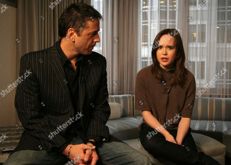 "Stock Image of Tony Potts, Ellen Page Actress Ellen Page, right, is interviewed by ""Access Hollywood"" correspondent Tony Potts during a taping of a segment for the show at The London hotel in New York. Page snagged a best actress Golden Globe nomination for her work in the comedy ""Juno"