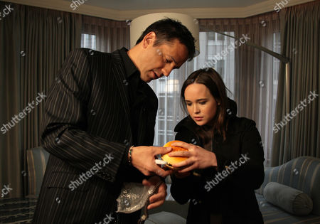 "Tony Potts, Ellen Page Actress Ellen Page, right, is interviewed by ""Access Hollywood"" correspondent Tony Potts during a taping of a segment for the show at The London hotel in New York. Page snagged a best actress Golden Globe nomination for her work in the comedy ""Juno"