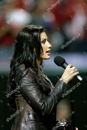 Danielle Peck Country music recording artist Danielle Peck performs the National Anthem before Game 5 of the American League Championship baseball series between the Boston Red Sox and Cleveland Indians, in Cleveland