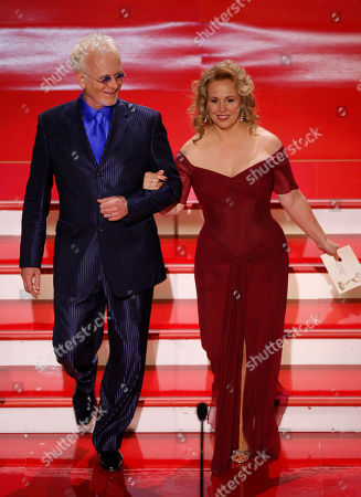 """Anthony Geary;Genie Francis Actors Anthony Geary and Genie Francis are seen on stage before presenting the Emmy for """"Outstanding Lead Actress in a Drama Series"""" at the 34th Annual Daytime Emmy Awards in Los Angeles"""
