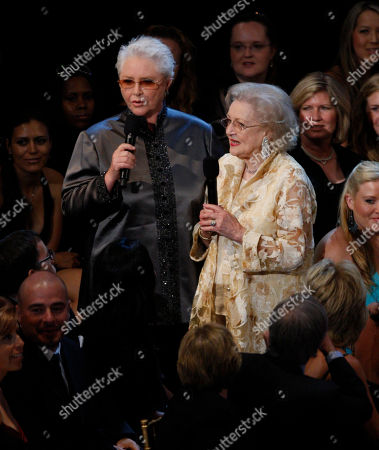 Susan Flannery;Betty White Actors Susan Flannery, left, and Betty White are seen at the 34th Annual Daytime Emmy Awards in Los Angeles