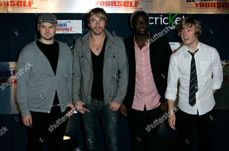 """Mike Retondo;Tim Lopez; De'Mar Hamilton;Dave Tirio Members of the musical group Plain White T's arrives at the """"Hollywood Celebrate 18"""" event in Beverly Hills, Calif., . From left are Mike Retondo, Tim Lopez, De'Mar Hamilton and Dave Tirio"""