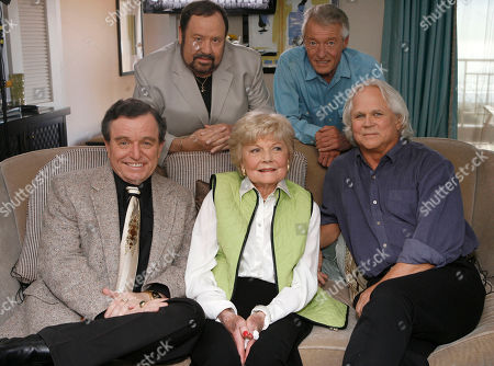 Stock Picture of Jerry Mathers;Barbara Billingsley; Tony Dow;Frank Bank;Ken Osmond The cast of Leave It To Beaver poses for a photo as they are reunited in Santa Monica, Calif., to celebrate the 50th anniversary of the show which will be celebrated on the cable channel, TV Land on October 6th and 7th. The cast was shooting a segment for Good Morning America. Seated (L to R): Jerry Mathers, Barbara Billingsley, Tony Dow. Standing (L to R): Frank Bank and Ken Osmond