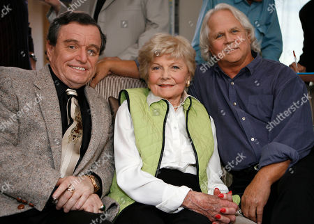 Jerry Mathers; Barbara Billingsley;Tony Dow The cast of Leave It To Beaver poses for a photo as they are reunited in Santa Monica, Calif., to celebrate the 50th anniversary of the show which will be celebrated on the cable channel, TV Land on October 6th and 7th. The cast was shooting a segment for Good Morning America. Seated (L to R): Jerry Mathers, Barbara Billingsley, and Tony Dow