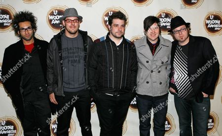 Joshua Cain; Tony Thaxton; Justin Pierre; Jesse Johnson; Matthew Taylor Motion City Soundtrack arrive at the mtvU Woodie Awards in New York