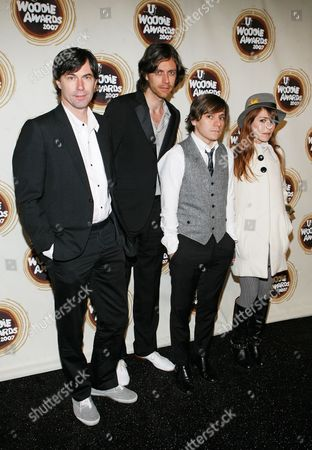 Pierre de Reeder; Jason Boesel; Blake Sennett; Jenny Lewis From left, Pierre de Reeder, Jason Boesel, Blake Sennett and Jenny Lewis of the band Rilo Kiley arrive at the mtvU Woodie Awards in New York