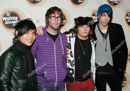 Blake Healy; Anthony Improgo; Mason Musso; Trace Cyrus From left, Blake Healy, Anthony Improgo, Mason Musso, Trace Cyrus of the band Metro Station arrive at the mtvU Woodie Awards in New York