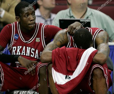 Stock Picture of Sonny Weems, Patrick Beverley Arkansas' Sonny Weems, right, is consoled by teammate Patrick Beverley during the closing moments of the second half of a second-round NCAA East Regional basketball game against North Carolina in Raleigh, N.C., . Weems had 19 points as North Carolina won 108-77