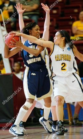 Stock Picture of Natasha Vital, Whitney Allen California's Natasha Vital, right, defends on George Washington's Whitney Allen in the first half during the second round of the NCAA women's basketball tournament in Stanford, Calif