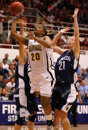 Devanei Hampton, Amber Sprague, Morgan Henderson California forward Devanei Hampton, center, drives to the basket between San Diego center Amber Sprague, right, and Morgan Henderson, left, during the first half in the first round of the NCAA women's college basketball tournament in Stanford, Calif., on