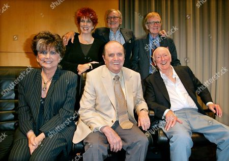 """Marcia Wallace, Bill Daily, Jack Riley, Suzanne Pleshette Bob Newhart, Dick Martin Bob Newhart, center, sits with other members of the cast and crew of the """"The Bob Newhart Show,"""" from top left, Marcia Wallace, Bill Daily, Jack Riley, and, from bottom lelt, Suzanne Pleshette and Dick Martin during TV Land's 35th anniversary tribute to the program in Beverly Hills, Calif. Dick Martin directed several episodes of the show. Wallace, who played a receptionist on the show, and the voice of Edna Krabappel on """"The Simpsons,"""" died Saturday Oct. 26, 2013"""