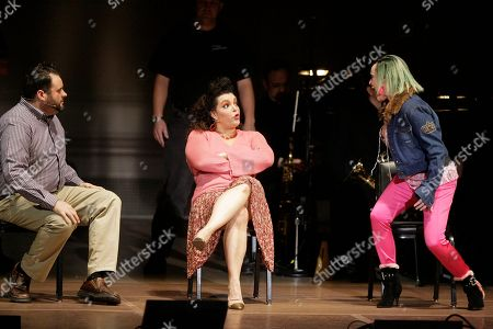 """Luke Grooms, Patricia Phillips, Linda Balgord Guests, Luke Grooms as Dwight, left, Patricia Phillips as Peaches, second from left, and Linda Balgord as Zandra talk during a performance of """"Jerry Springer - The Opera"""" in New York"""