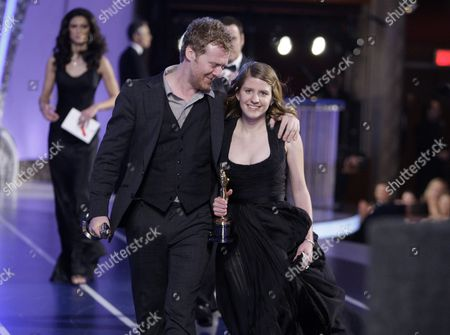 """Glan Hansard, Marketa Irglova Glen Hansard and Marketa Irglova, right, leave the stage after winning best original song for """"Once"""" at the 80th Academy Awards in Los Angeles"""