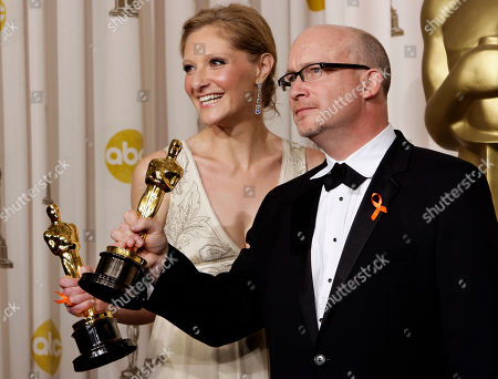 """Stock Image of Alex Gibney and Eva Orner Alex Gibney and Eva Orner pose with their Oscars for best documentary feature for the film """"Taxi to the Dark Side"""" at the 80th Academy Awards, in Los Angeles"""