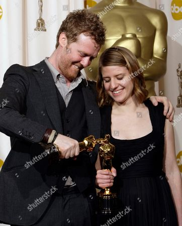 """Glen Hansard, Marketa Irglova Glen Hansard and Marketa Irglova pose with their Oscars for best original song for """"Falling Slowly"""" from the motion picture """"Once"""" at the 80th Academy Awards, in Los Angeles"""