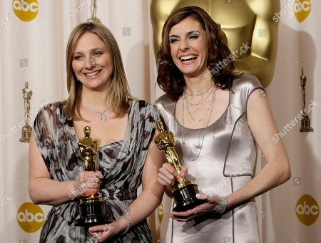 "Cynthia Wade, Vanessa Roth Cynthia Wade and Vanessa Roth pose with their Oscars for best documentary short subject for ""Freeheld"" at the 80th Academy Awards, in Los Angeles"