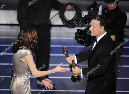 "Cynthia Wade, Tom Hanks Tom Hanks presents Cynthia Wade with the Oscar for best documentary short subject for ""Freeheld"" at the 80th Academy Awards, in Los Angeles"