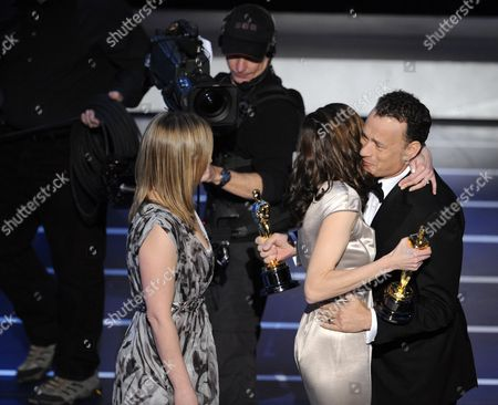"Vanessa Roth, Cynthia Wade, Tom Hanks Tom Hanks presents Cynthia Wade, right, and Vanessa Roth with the Oscar for best documentary short subject for ""Freeheld"" at the 80th Academy Awards, in Los Angeles"