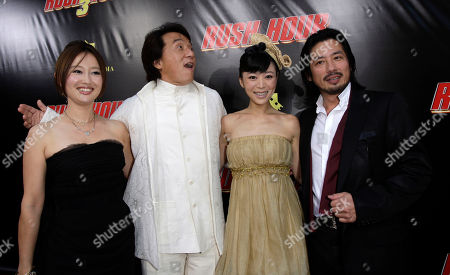 """Jackie Chan; Youki Kudoh;Zhang Jingchu;Hiroyuki Sanada Jackie Chan, second left, co-star of the film """"Rush Hour 3"""" poses with cast members from left Youki Kudoh, Zhang Jingchu and Hiroyuki Sanada, as they attend the premiere of the film at the Mann's Chinese Theater in the Hollywood section of Los Angeles"""