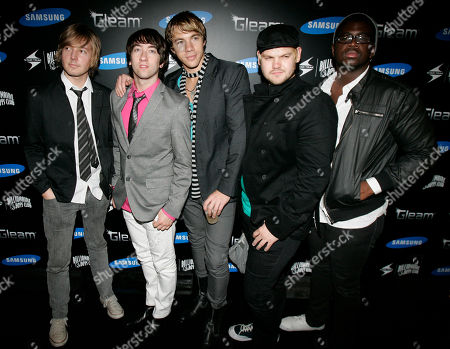 Dave Tirio, Tom Higgenson, Tim Lopez, Mike Retondo, De'Mar Hamilton Plain White T's are seen at the Samsung GLEAM Private Dinner & Party hosted by Pharrell in Las Vegas on . From left are Dave Tirio, Tom Higgenson, Tim Lopez, Mike Retondo, De'Mar Hamilton