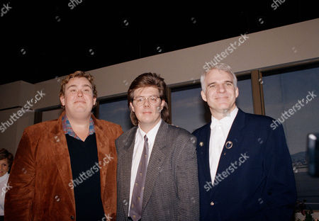 """Steve Martin, John Candy, John Huges during Press Conference for """"Planes, Trains & Automobiles"""" in Los Angeles, Calif., November 1987"""