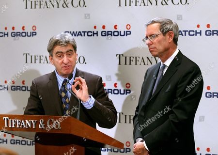 Nick Hayek, Jr., CEO of The Swatch Group Ltd. speaks as Michael Kowalski, CEO of Tiffany & Co., listens as they announce a strategic alliance between Swatch and Tiffany & Co. to manufacture and sell Tiffany watches during a press conference at Tiffany & Co. in New York