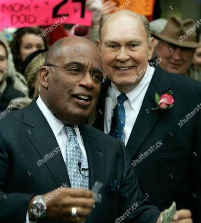 "Al Roker; WIllard Scott Weathercasters Al Roker, left, and Willard Scott, of the NBC ""Today"" television program, appear during a segment of the show in New York's Rockefeller Center"