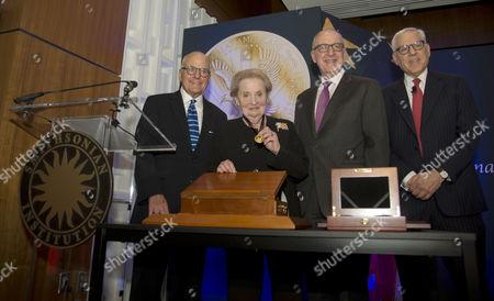 John Gray, Director of the Smithsonian Museum of American History, Madeleine Albright, David J Skorton, Sec of the Smithsonian Institutions and David M. Rubenstein