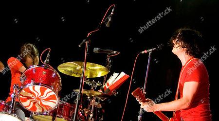 "Jack White, Meg White Jack White, right, and Meg White, left, of the ""White Stripes"" performs during a concert at Madison Square Garden in New York"