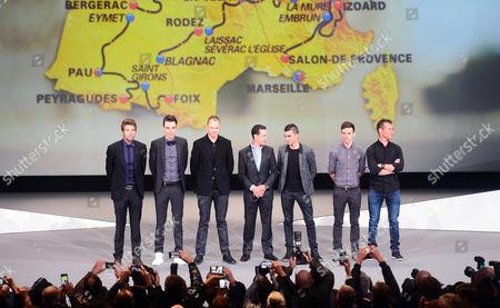 Presentation of the route of the 2017 Tour de France. Palais des Congrés, Paris. Thibaut Pinot, Romain Bardet, Chris Froome, Richie Porte, Julian Alaphillipe, Adam Yates, Thomas Voeckler