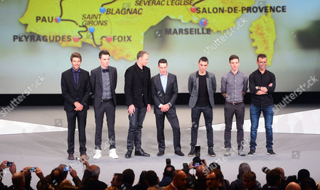 Presentation of the route of the 2017 Tour de France. Palais des Congrés, Paris. left to right Thibaut Pinot, Romain Bardet, Chris Froome, Richie Porte, Julian Alaphillipe, Adam Yates, Thomas Voeckler