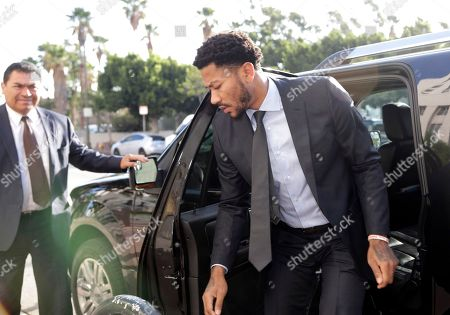 Derrick Rose arrives at Federal Court in Los Angeles,. Testimony is scheduled to resume in the lawsuit against Rose and two friends by a woman who claims she was raped while incapacitated three years ago