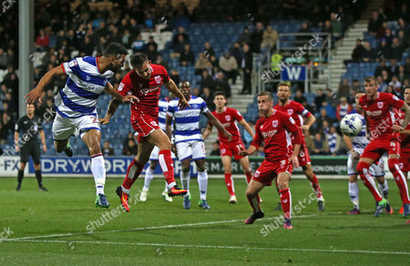 Steven Caulker of QPR (L) goes close with a near post header from a corner during the Sky Bet Championship match between Queens Park Rangers and Bristol City played at Loftus Road, London on 18th October 2016
