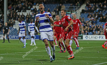 Steven Caulker of QPR (L)  shows his frustration after he goes close with a near post header from a corner  during the Sky Bet Championship match between Queens Park Rangers and Bristol City played at Loftus Road, London on 18th October 2016