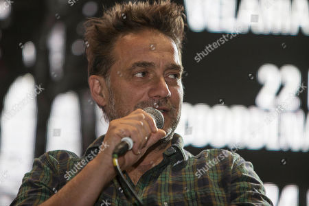 "Gabriel Fernandez ""Vicentico Gabriel Fernandez ""Vicentico,"" vocalist for Argentina's rock band Los Fabulosos Cadillacs, speaks during a press conference in Mexico City, . The band's song ""La Tormenta"" or ""The Storm,"" has been nominated for Song of the Year by the 2016 Latin Grammys"