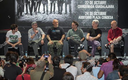 "Florian Fernandez, Fernando Ricciardi, Flavio Cianciarulo, Gabriel Fernandez, Mario Siperman, Dany Lozano Members of Argentina's rock band, Los Fabulosos Cadillacs, give a press conference in Mexico City, . From left are Florian Fernandez, guitar, Fernando Ricciardi, drums, Flavio Cianciarulo, bass, Gabriel Fernandez ""Vicentico,"" vocals, Mario Siperman, keyboard, and Dany Lozano, trumpet. The band's song ""La Tormenta"" or ""The Storm,"" has been nominated for Song of the Year by the 2016 Latin Grammys"