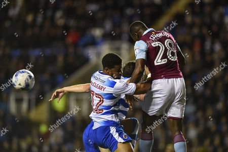 Aston Villa Defender, Aly Cissokho (28) heads clear a corner during the EFL Sky Bet Championship match between Reading and Aston Villa at the Madejski Stadium, Reading