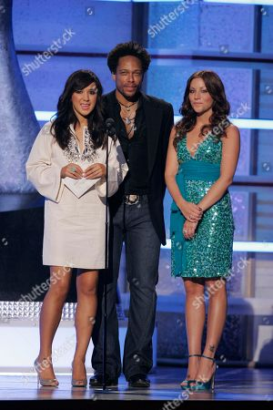 Michelle Branch; Gary Dourdan; Jessica Harp Michelle Branch, left, Gary Dourdan, and Jessica Harp present an award during the 42nd Annual Academy of Country Music Awards, in Las Vegas