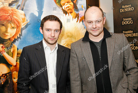"""Rob Corddry, Nathan Corddry Rob Corddry, right, and his brother Nathan Corddry arrive to the movie premiere of """"Arthur and the Invisibles,"""", in New York"""