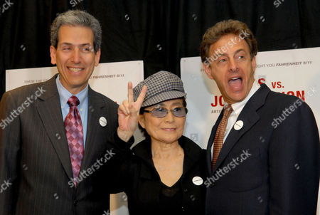 """David Leaf, Yoko Ono Lennon, John Scheinfeld Yoko Ono Lennon poses with filmmakers David Leaf, left, and John Scheinfeld after talking about their new film """"The U.S. vs. John Lennon"""" during a press conference at The Regency Hotel, in New York. The ex-Beatle's celebrated battle with the feds is chronicled in documentary, which traces how he went from rock star to fierce anti-war protester to """"undesirable alien."""" The documentary played at the Toronto Film Festival in advance of its theatrical debut Friday, Sept. 15, 2006"""