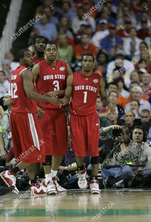 Ron Lewis, Ivan, Mike Conley Jr., Greg Oden Ohio State's Ron Lewis (12), Ivan Harris (3) Mike Conley Jr. (1) and Greg Oden stand on the court during their men's championship basketball game at the Final Four in the Georgia Dome in Atlanta