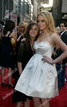 """Lindsay Lohan; Aliana Lohan Actress Lindsay Lohan poses with her sister Aliana as they arrive for the New York premiere of """"Georgia Rule"""" . Lohan stars in the film that opens May 11"""