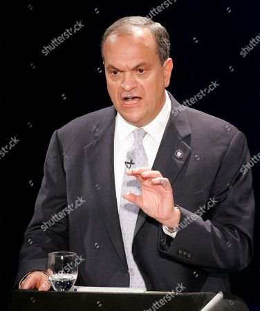 Stock Image of JOHN DESTEFANO Republican gubernatorial candidate, New Haven Mayor John DeStefano speaks during a debate in New London, Conn., with Republican incumbent Gov. M.Jodi Rell