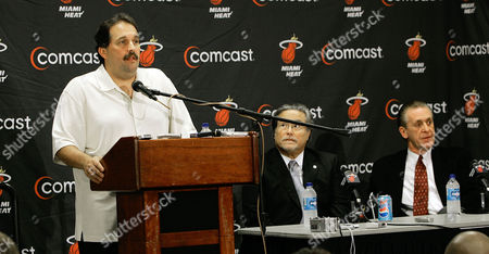 ARISON Miami Heat Stan Van Gundy, left, explains to the media why he is resigning as head coach as team owner Micky Arison, center and former coach Pat Riley listen during a press conference