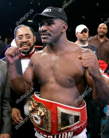 Evander Holyfield, Fres Oquendo Evander Holyfield celebrates his heavyweight win over Fres Oquendo in San Antonio